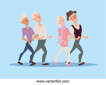 group of old people walk together, active seniors