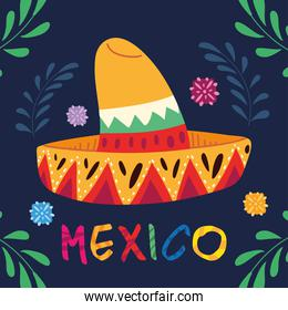 poster mexico with mexican hat and decoration