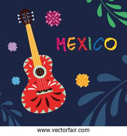 mexico label with mexican guitar, musical instrument