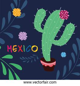 mexico label with cute cactus, poster