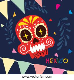 mexico label with mexican skull, poster