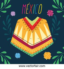 label mexico with poncho clothing, typical mexican poncho