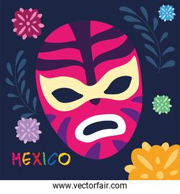 label mexico with mexican wrestler mask