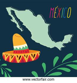 label mexico with mexican hat and map, poster