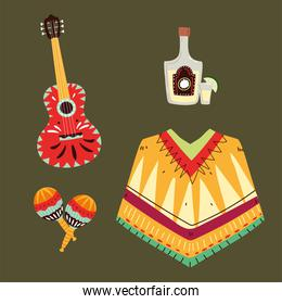 set of mexican symbols, mexican celebration icons