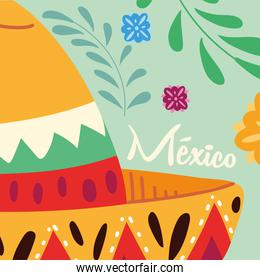 label mexico with mexican hat, poster