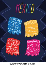 mexico label with mexican decorative garland