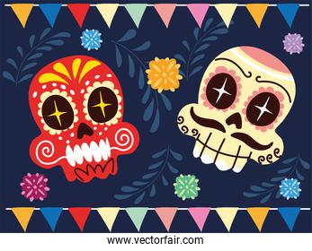 cheerful mexican skulls, mexican celebration