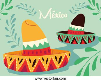 label mexico with mexican hats, poster