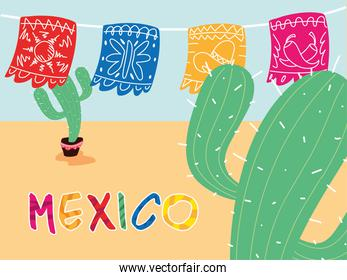 mexico label with decorative garlands and cactus