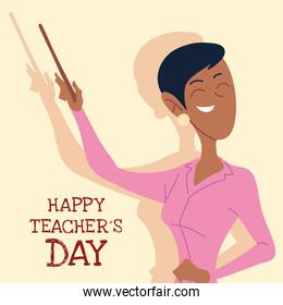 happy teachers day card with woman