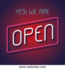 yes, we are open, poster