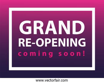 grand re opening coming soon, we are working again