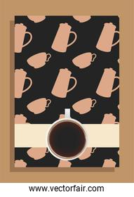 coffee cup on black poster with pots and cups vector design
