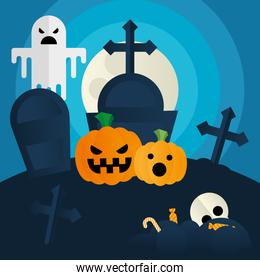 Halloween pumpkins and ghost at cemetery vector design