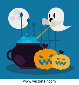 Halloween witch bowl ghost and pumpkins vector design