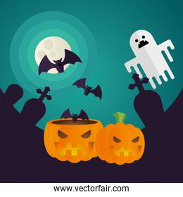 Halloween pumpkins and ghost cartoons at cemetery vector design
