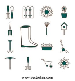 garden line and fill style icon set