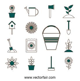 garden line and fill style icons set  design