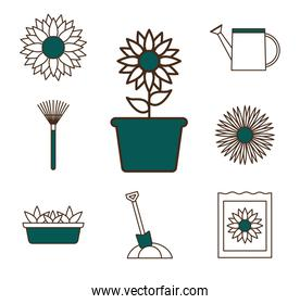 garden line and fill style set of icons vector design