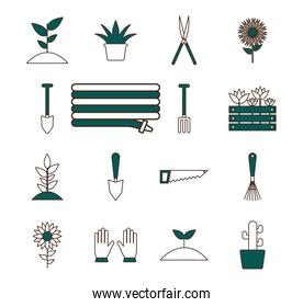 garden line and fill style collection of icons vector design