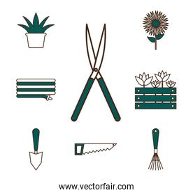 garden line and fill style icons collection vector design
