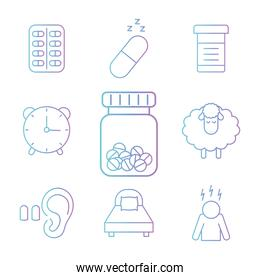 insomnia gradient style icons collection vector design