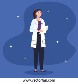 doctor female professional with checklist document