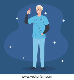 male doctor professional with syringe