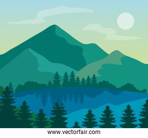 landscape nature and lake, pine trees with mountains