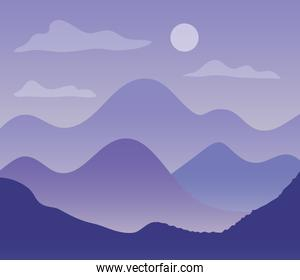 purple landscape with silhouettes of mountains