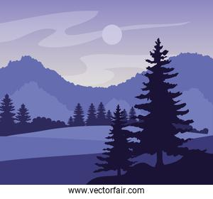 purple landscape with silhouettes of mountains and pine trees