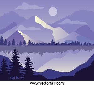 purple landscape with silhouettes of mountains, lake and pine trees