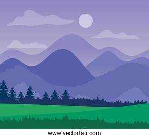 purple landscape with silhouettes of mountains, pine trees and grass