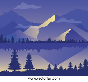purple landscape with silhouettes of mountains, pine trees and lake