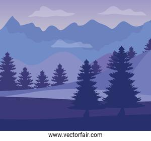 purple landscape with silhouettes of mountains with pine trees