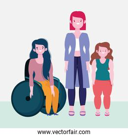 diversity and inclusion, woman on wheelchair and short and tall women