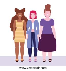 diversity and inclusion, group women with different ethnicity, stature and size cartoon