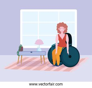 diversity and inclusion, smiling woman sitting on wheelchair in the room