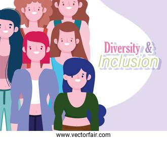 diversity and inclusion, women portrait character different