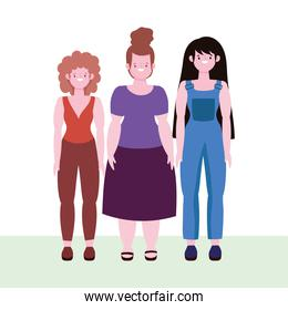 diversity and inclusion, happy women of different stature and size