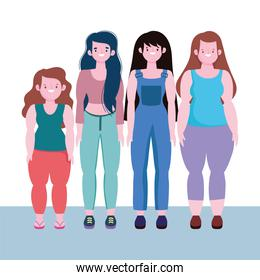 diversity and inclusion, happy women together of different stature and size