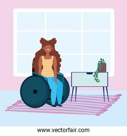 diversity and inclusion, afroamerican woman sitting on wheelchair in the home