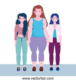diversity and inclusion, women tall stature curvy body, together characters