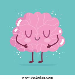 world mental health day, cartoon brain character on green background