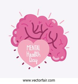 world mental health day text inside the human heart and brain