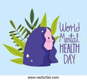 world mental health day, portrait young woman, lettering leaves foliage