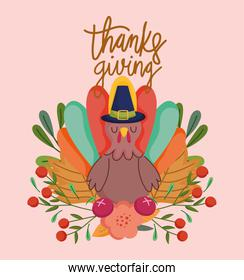 happy thanksgiving day, turkey flowers fruit leaves foliage card