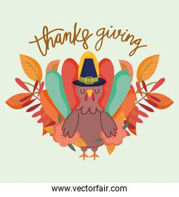 happy thanksgiving day, cartoon turkey with hat foliage leaves nature decoration