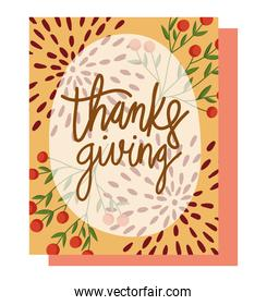 happy thanksgiving day, seasonal leaves foliage fruits and lettering